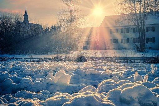 Winter, Village, Sunlight, Sun Rays, Sun, Snow, Ice