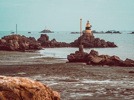 Lighthouse, Sea, Ile-de-brehat, Coast, Rock Formation