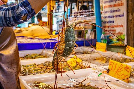 Woman, Lobster, Market, Vendor, Thai, Seafood, Food