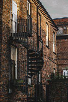 Fire Escape, Spiral, Building, Stairs, Brick Wall