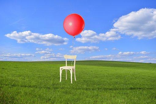 Birthday, Party, Balloon, Chair, Grass, Meadow, Sky