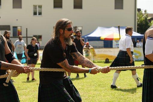 Highland Games, Scottish, Festival, Rope, Tug Of War