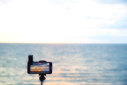Sunset, Sea, Mobile Phone, Camera, Phone, Clouds, Sky