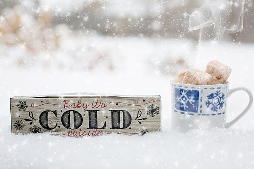 Snowfall, Hot Drink, Wooden Sign, Winter