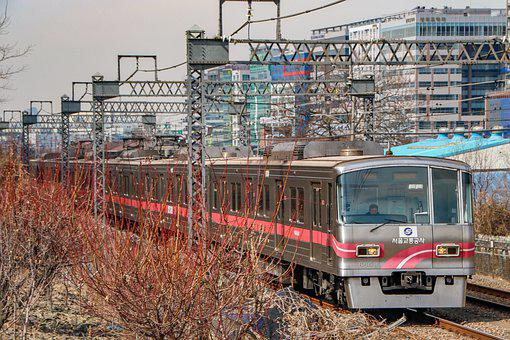 Train, Railroad, City, Buildings, Transportation