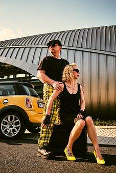 Couple, Car, Fashion, Vintage, Man, Woman, Girl, Model