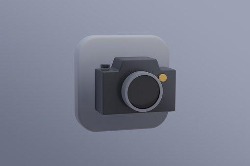Camera, Icon, Photography, White, Black, Design, Lens