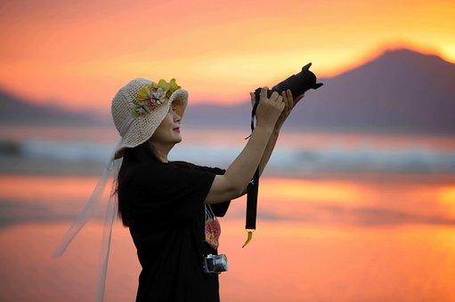 Woman, Camera, Hat, Sunset, Beach, Busan, Dadaepo Beach