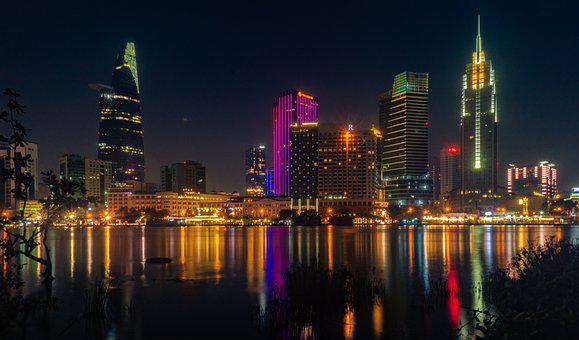 Ho Chi Minh City, River, Evening, Lights, City Lights