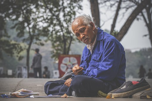 Old Man, Homeless, Street, Road, Sidewalk, Sitting, Man