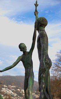 Statue, Swim, Switzerland, Historically, Middle Ages
