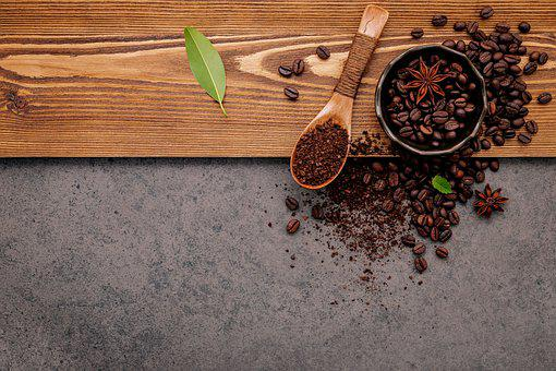 Coffee Beans, Flat Lay, Background, Bowl, Coffee