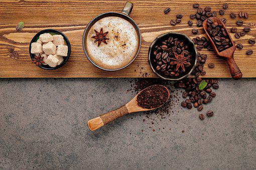 Coffee, Coffee Beans, Flat Lay, Background, Bowl, Scoop