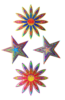 Colorful Stars, Blue, Yellow, Color, Flower Burst