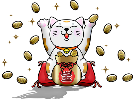 Lucky Cat, Fortune, Gold, Cat, Paw, Japanese