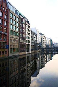 Hamburg, Pale Fleet, Fleet, Channel, Facade, Houses