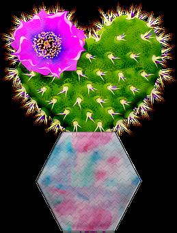Cactus, Cacti, Heart Shaped Cactus, Watercolor, Vase
