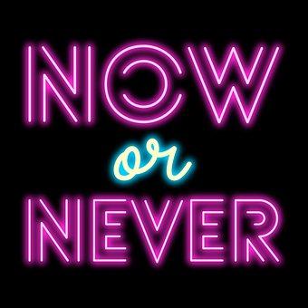 Now Or Never, Neon Lights, Advertising, Neon, Light
