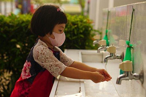Child, Mask, Hand Washing, Face Mask, Girl, Little Girl