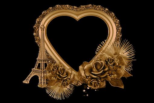 Heart, Eiffel Tower, Roses, Frame, Border, Gold, Golden