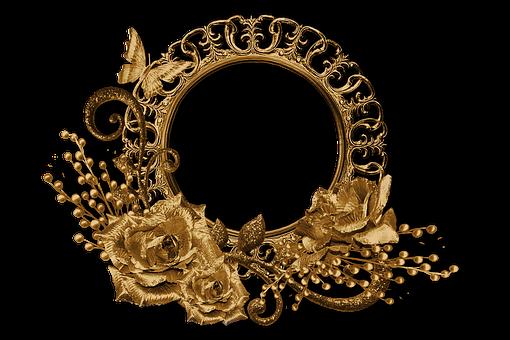 Roses, Flowers, Border, Frame, Gold, Golden, Desin