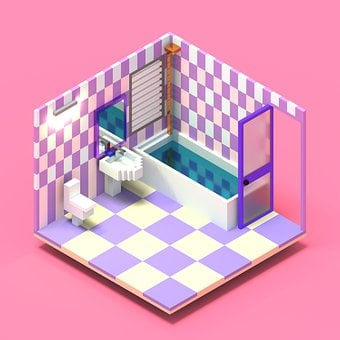 Bathroom, 3d, Voxel, Interior, Design, Rendering