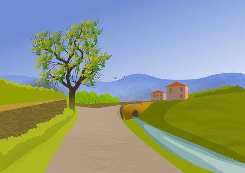 Road, Village, Canal, Bridge, Waterway, Channel, River
