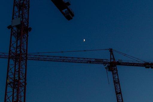 Night, Work, Moon, Crane, Night Sky, Site, City