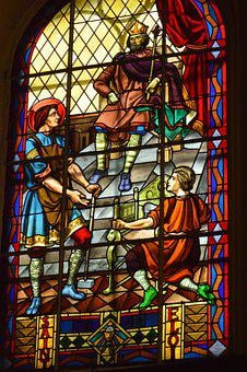 Stained Glass, Window, Church, King, Dagobert, Serve