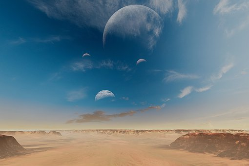 Planet, Moons, Space, Outer Space, Desert, Barren