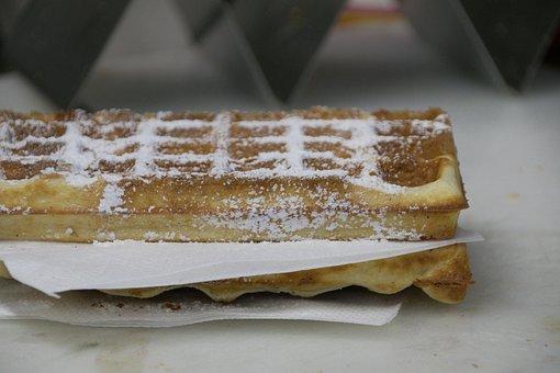 Waffles, Icing Sugar, Sweet, Eat, Sweetness, Dessert