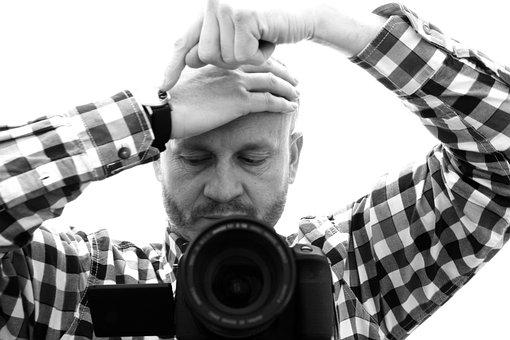Photographer, Man, Hands, Characters, Clock