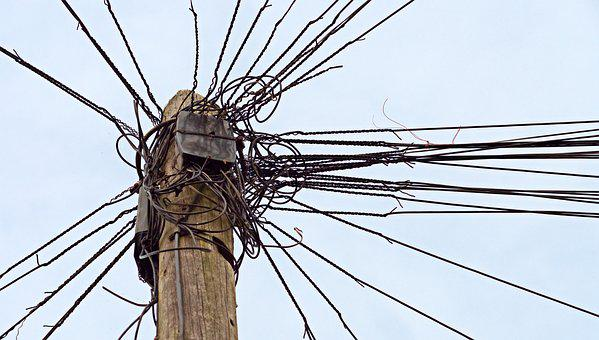 Telephone, Telegraph, Pole, Wire, Communication, Tangle
