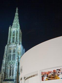 Ulm Cathedral, Ulm, Münster, Night, Dom, Tower, Steeple