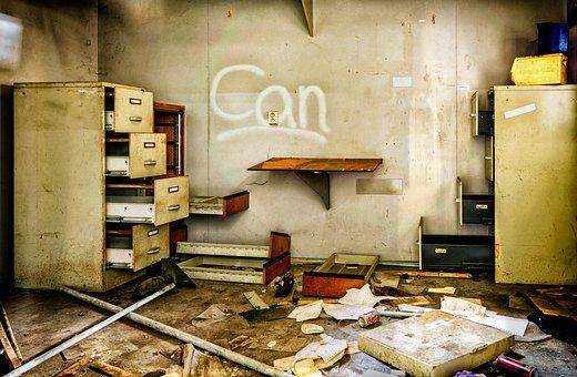 Lost Places, Office, Clutter, Mess, Files, Cabinet