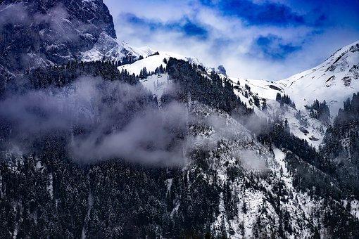 Switzerland, Mountains, Sky, Clouds, Fog, Dawn