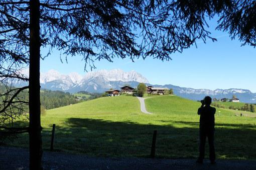 Photographer, Silhouette, Hill, Farm, Wilderkaiser