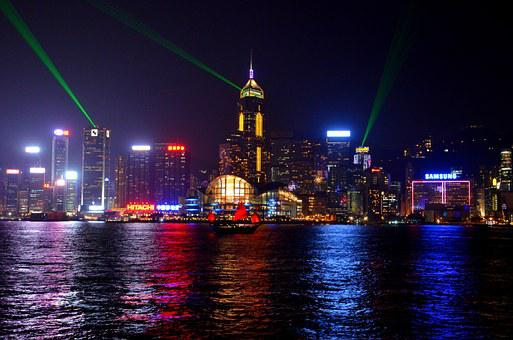 Hong Kong, Skyline, China, Night, City, Lights, Evening