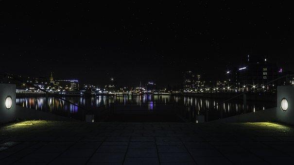 Kiel, Night Photo, Starry Sky, Night Photograph