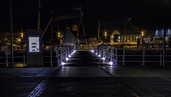 Hdw Crane, Kieler Firth, Seestrasse, Lights, Port