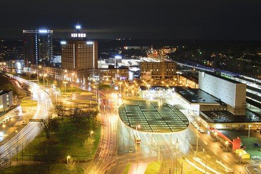 City, Night Photograph, Long Exposure, Facade, Night