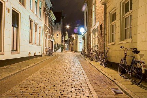 Road, Night, Bicycles, Lights, Lighting