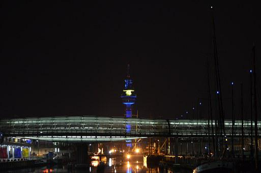 Night Photograph, Radar Tower, Glass Bridge