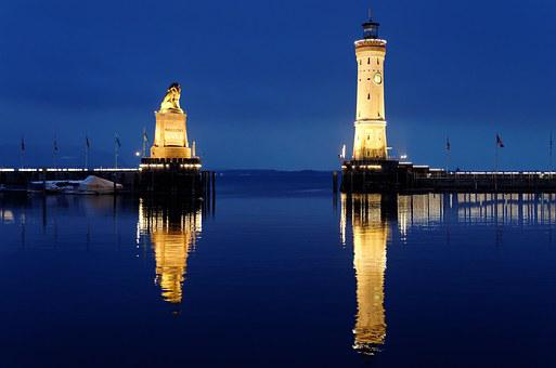 Lindau, Port, Mirroring, Night Photograph, Lighthouse