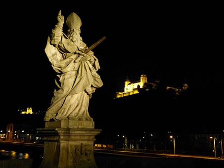 Main Bridge, Würzburg, Statue, Night, Marienberg