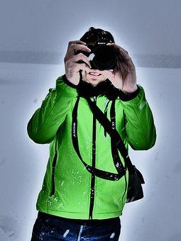 Photographer, Photograph, Snow, Winter, Jacket