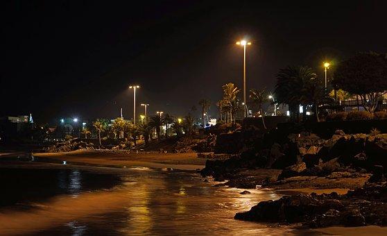 Promenade, Night Photograph, Puerto Del Carmen