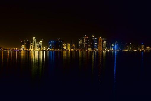 Doha, Qatar, Mosque, Night, Arabic, Travel, Persian