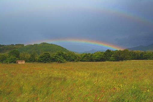 Rainbow, Rain, Sun, Cabin, Prairie