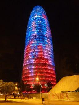 Torre Agbar, Building, Architecture, Illuminated, Red